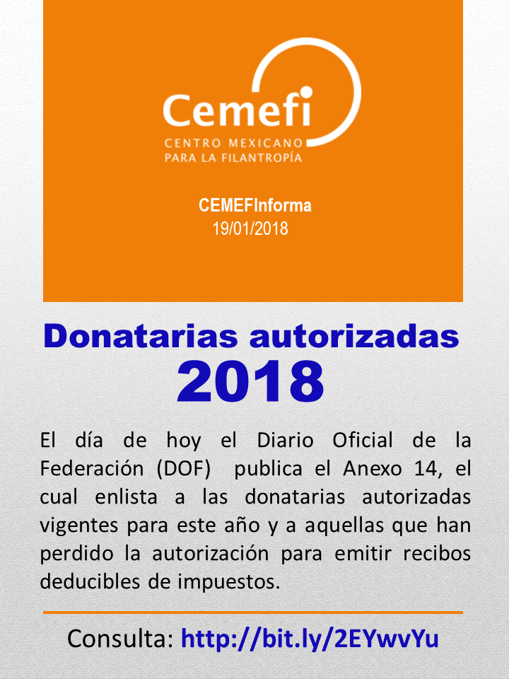 Donatarias autorizadas SAT 2018