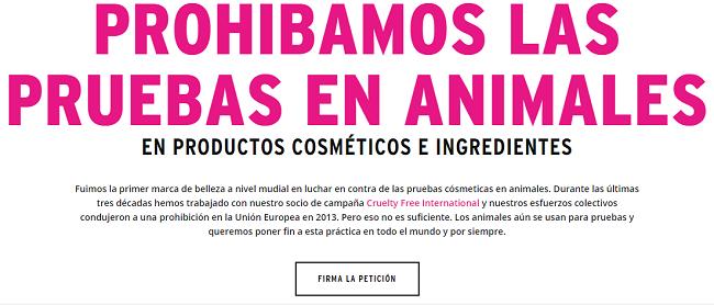 Peticion para prohibir las pruebas en animales en el rumbo responsable de The Body Shop