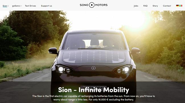 El sisito web del primer coche electrico que se recarga en el sol