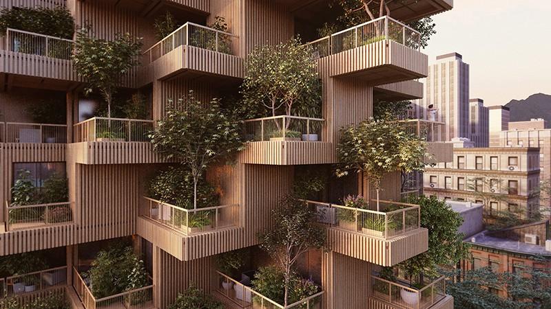 El edificio cubierto de 450 árboles