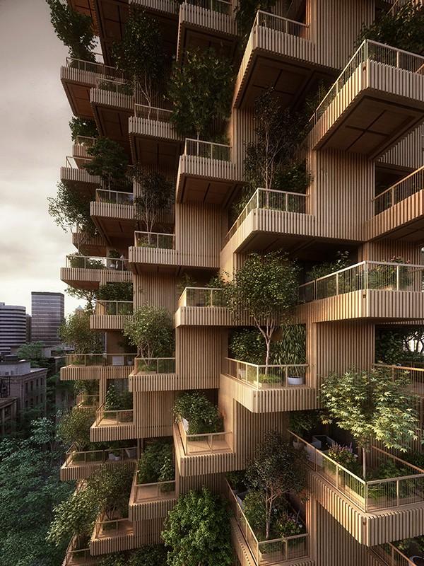 Conoce el edificio cubierto de 450 árboles