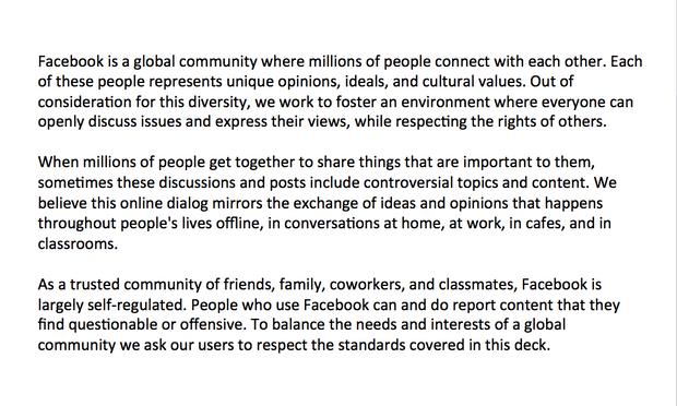 Descripcion de facebook sobre la plataforma