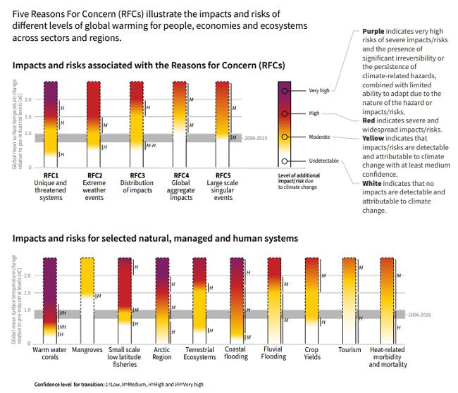 Cómo el nivel de calentamiento global afecta los impactos y/o riesgos asociados con las Razones de la preocupación (RFC) y los sistemas naturales, gestionados y humanos seleccionados