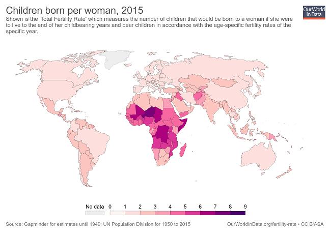 7 gráficas que demuestran que el mundo es mejor en 2019 - tasas de fertilidad