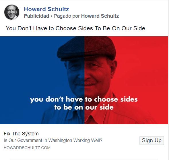 Se burlan de Howard Schultz por un anuncio en Facebook