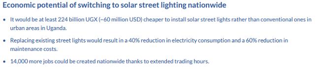 Iluminación solar para ciudades en Uganda - beneficios en Jinja