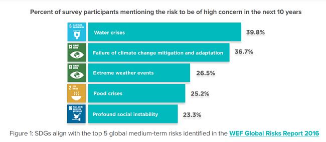 Porcentaje de participantes en la encuesta que mencionan los riesgos de ser una gran preocupación en los próximos 10 años