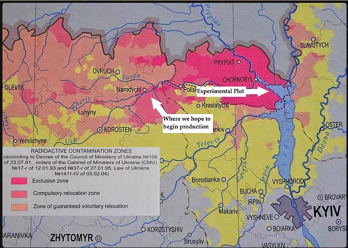 Mapa de zonas con parcela experimental y el distrito de Narodychi