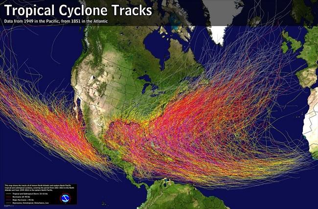 La frecuencia e intensidad varían de una cuenca a otra. Los ciclones tropicales del Atlántico se están volviendo más fuertes en promedio, con una tendencia de 30 años que se ha relacionado con un aumento de las temperaturas oceánicas sobre el Atlántico y más.