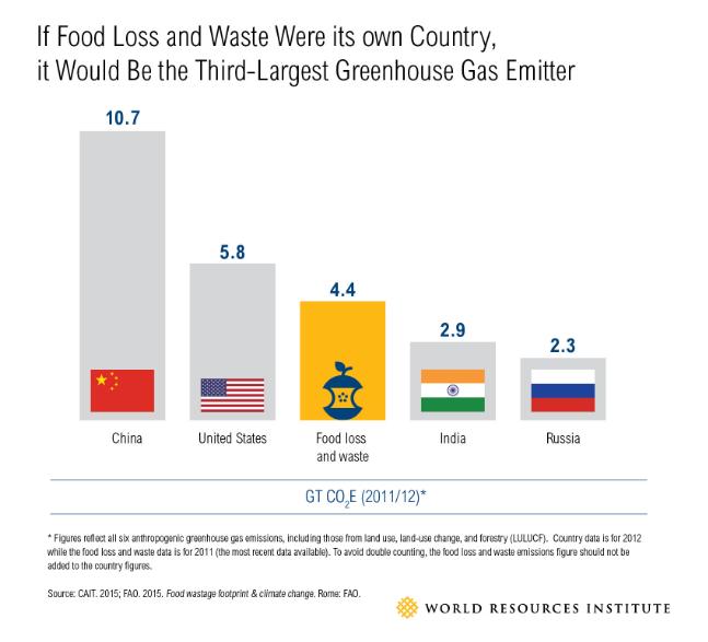 Si el desperdicio de comida fuera un país, sería el tercer más grande en emitir gases de efecto de invernadero.